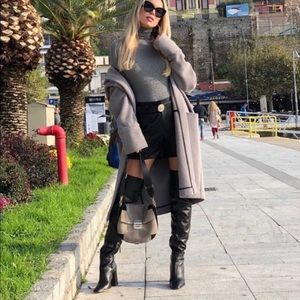 Zara over the knee leather heeled boots